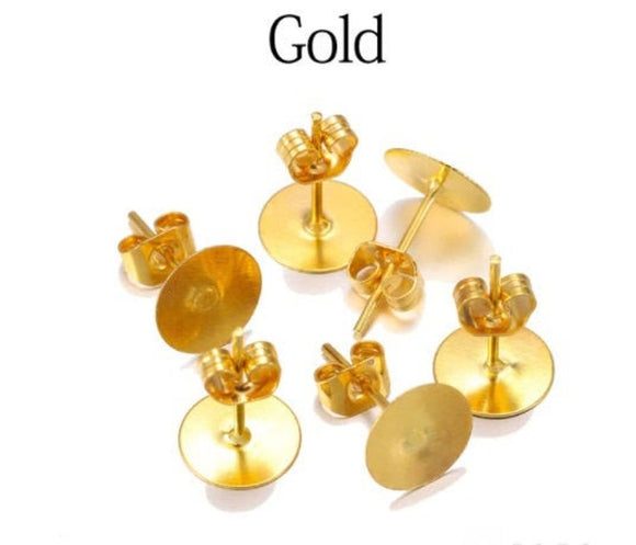 9ct Gold Plated Earring Stud Posts in 10mm or 12mm Pads