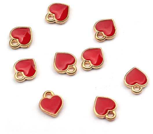 Gold Plated Red Enamel Heart Charms 8mm