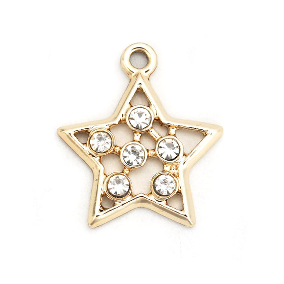 Gold Plated  Rhinestone Star Pendants