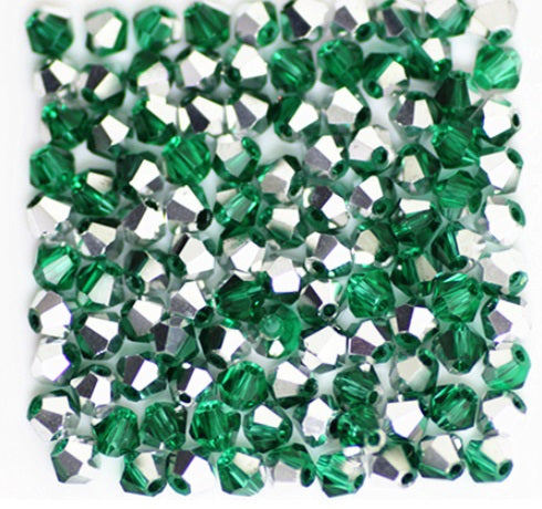 Two Tone Green and Silver Bicone Glass Beads