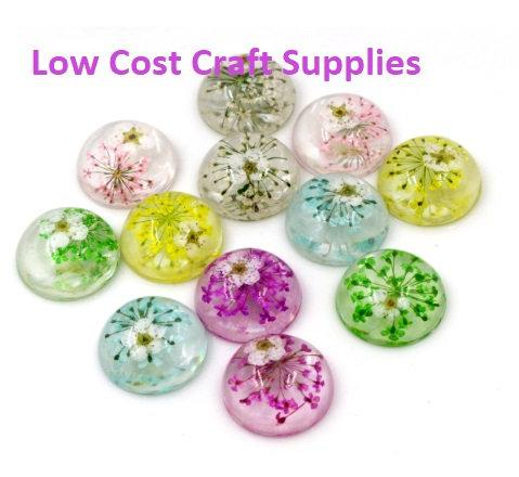 Handmade Flower Cabochons, 20mm  - Real Flowers
