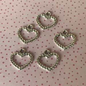 Silver Plated Heart Charms