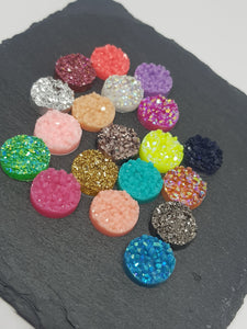 Mixed Resin Druzy Cabochons - Size 12mm