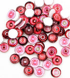 Red Mixed 12mm Glass Cabochons