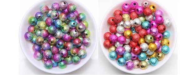 Rainbow Beads, Stardust Beads, 6mm and 4mm,