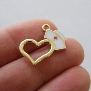 Gold Plated Nurse Enamel Heart Charm