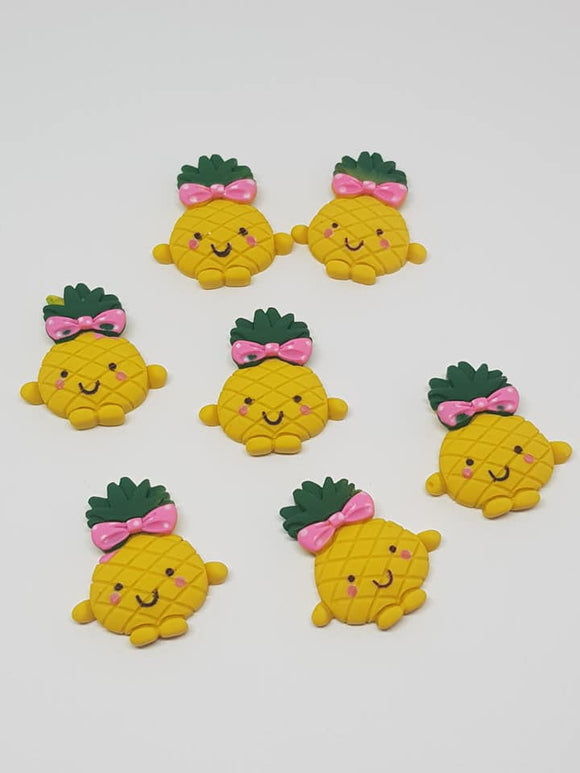 Pineapple Clay Flatbacks, Fimo Fruit, Bow Supplies