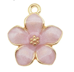 Gold Enamel Flower Charms 17mm - Individual Colours