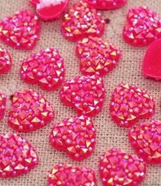 Sparkly Pink Heart Flatbacks - Resin
