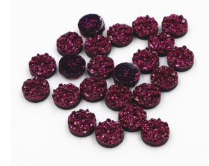 Deep Purple/Pink Resin Druzy Cabochons, 8mm, 10mm, 12mm