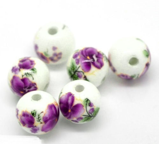 Purple Ceramic Beads, Porcelain Beads, Clay Beads, Floral Beads,