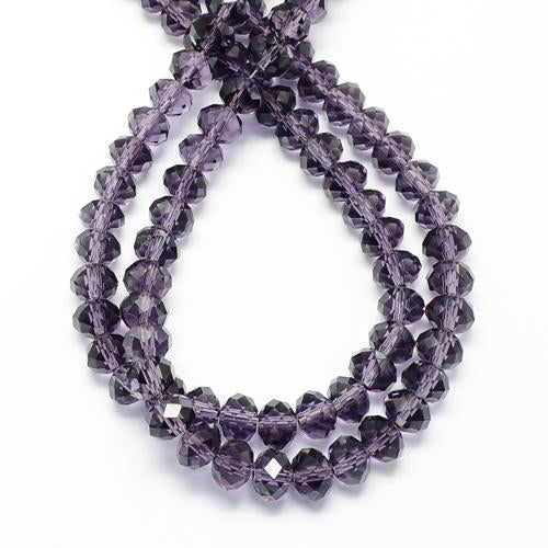 Purple Rondelle Beads, Glass 6mm Beads,