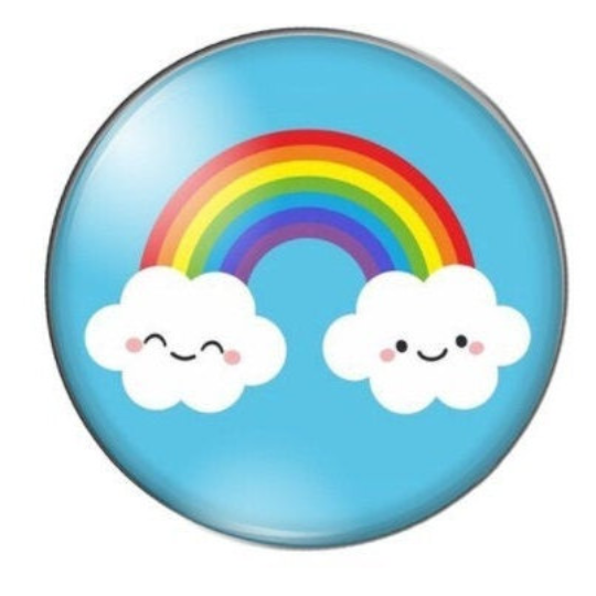 Rainbow with Clouds Glass Cabochons available in 10mm and 12mm