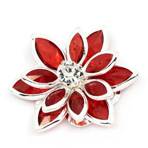 Red Rhinestone Flower Charm