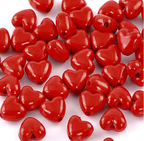 Red Chunky Heart Beads - Acrylic 11mm