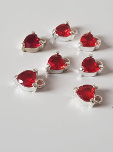 Silver Heart with Red Acrylic Heart Centres