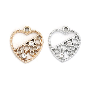Silver or Gold Rhinestone Heart Pendants