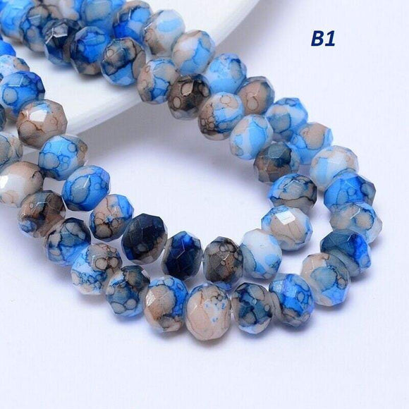 Blue Mix Rondelle Beads, 8mm , Unique Beads, B1