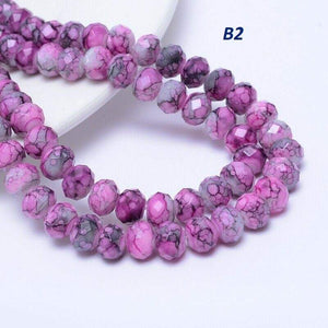 Pink and Lilac Rondelle Beads, 8mm, Unique Beads, B2