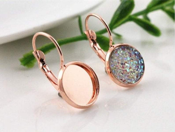 Rose Gold Cabochon Earring Settings, 10mm,