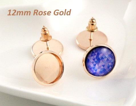 Rose Gold Cabochon Earring Settings, will take a 12mm Cabochon
