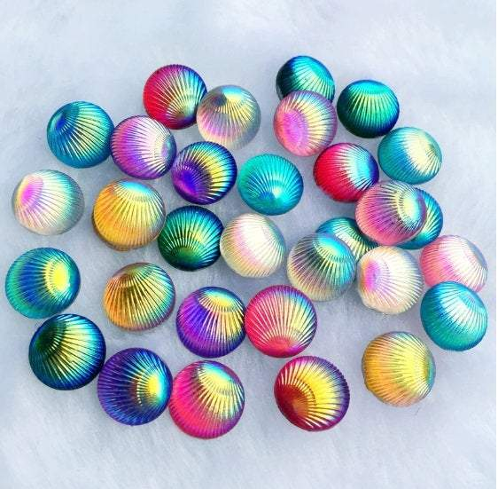 Shell Cabochons, Shell Flatbacks, 8mm Cabochons,