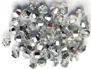 Silver Beads, Silver Bicone, Silver Czech, 4mm Bicone, Two Tone,