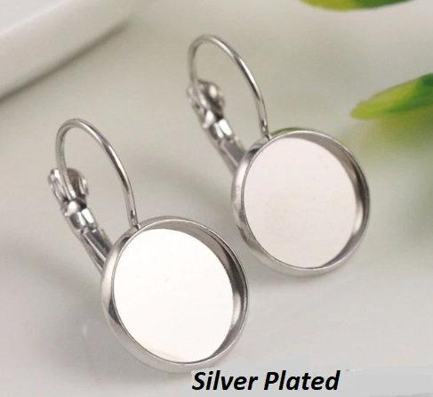 Silver Cabochon Earring Settings, 10mm,