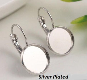 Silver Cabochon Earring Settings, 12mm,