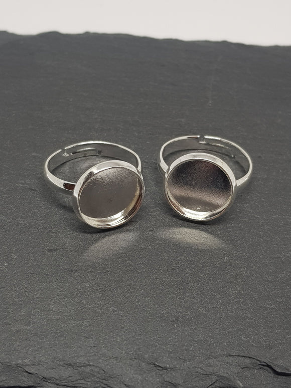 Silver, Cabochon Ring Blanks - 12mm