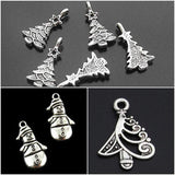 Silver Christmas Tree Charms and  Snowmen Charms