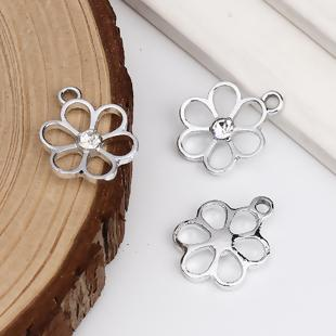 Silver Flower Pendant with Clear Rhinestone Centre