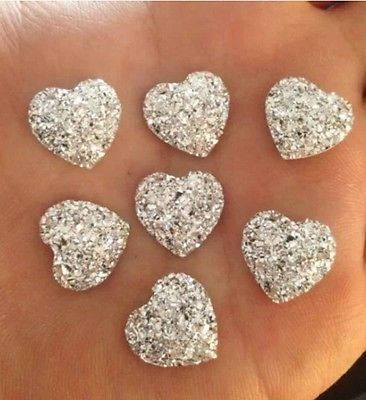 Silver Heart Cabochons, Glitter Hearts, Wedding,