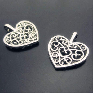 Silver Heart Charms,