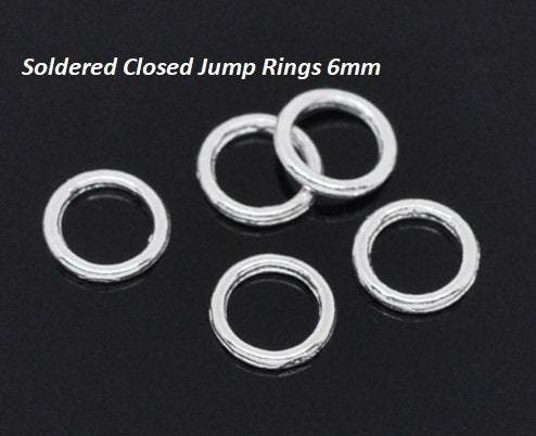 Silver Jump Rings, 6mm Soldered Closed