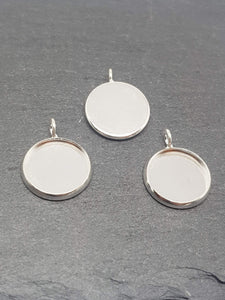 Silver Plated Cabochon Settings, will fit a 12mm Cabochon