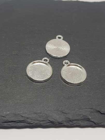 12mm Silver Plated Cabochon Settings,