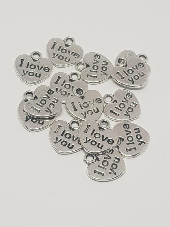 silver heart charms, jewellery charms,