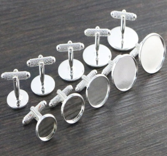 Silver Cabochon Cuff links