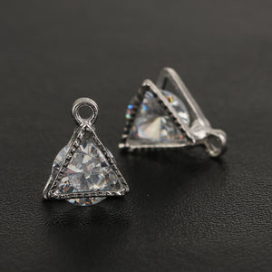 Silver Small Triangle Charm with Clear AB Rhinestone