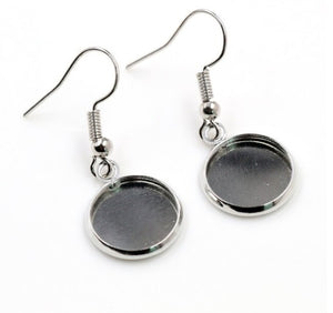 10mm stainless steel cabochon earrings