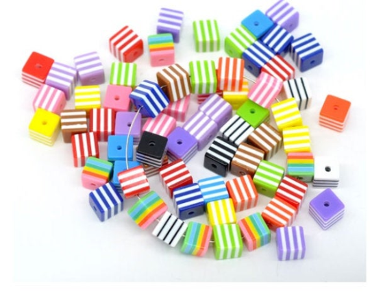 Mixed Colour Stripe Cube Beads