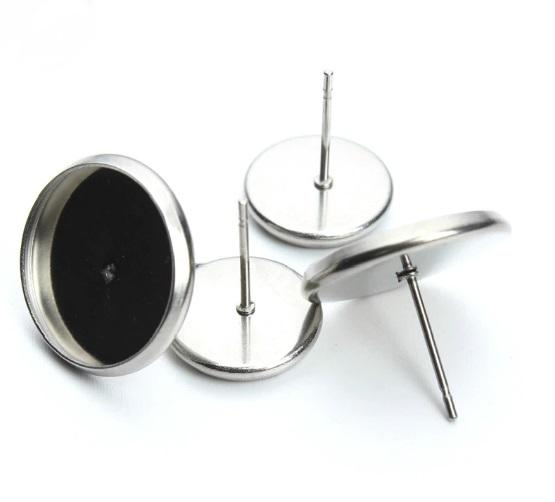 Surgical Stainless Steel Cabochon Earrings in 10mm and 12mm - Sensitive Ears