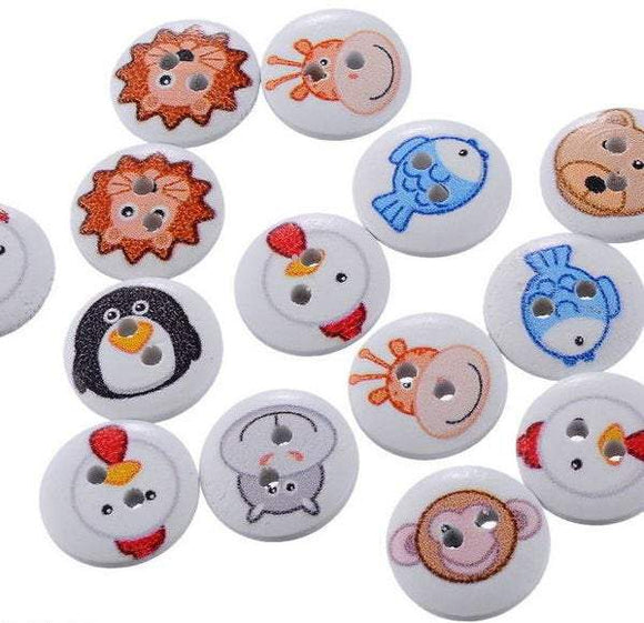 Wooden Animal Buttons, 15mm,