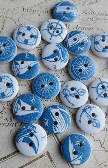 Wooden Buttons, Nautical Buttons, 15mm