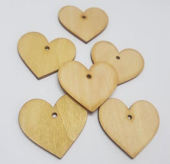 Wooden Hearts 40mm with Hole, Heart Bunting,