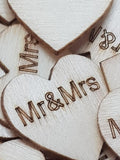 Wooden Mr & Mrs Hearts