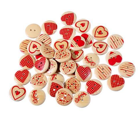 Wooden 20mm Buttons with Red Hearts