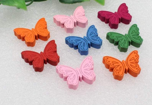 Wooden Butterfly Beads - Mixed Colours, Jewellery Beads