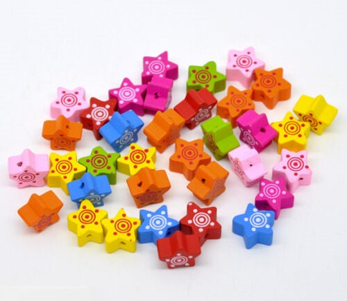 Wooden Star Beads, Jewellery Beads,